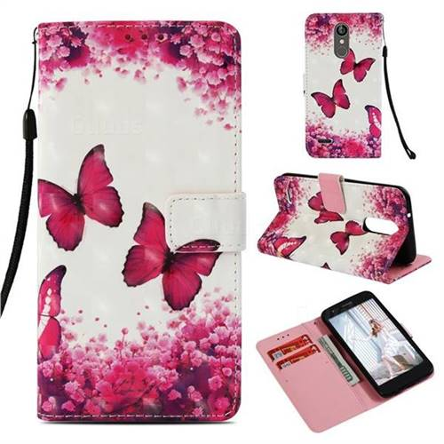 Rose Butterfly 3D Painted Leather Wallet Case for LG Aristo 2