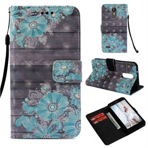 Blue Flower 3D Painted Leather Wallet Case for LG Aristo 2
