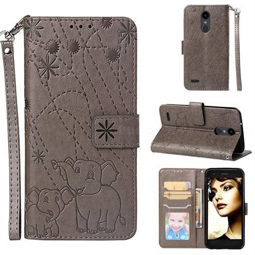 Embossing Fireworks Elephant Leather Wallet Case for LG Aristo 2 - Gray