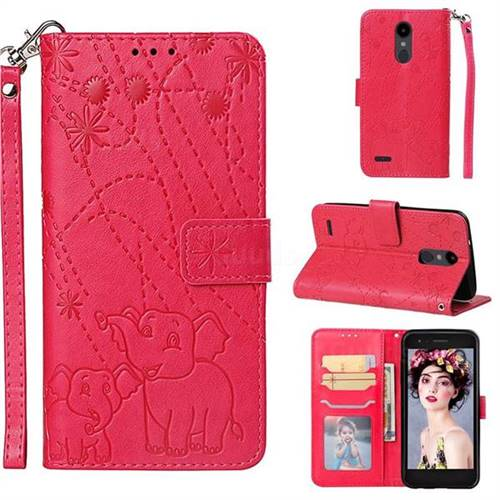 Embossing Fireworks Elephant Leather Wallet Case for LG Aristo 2 - Red