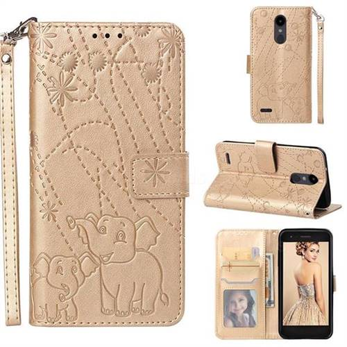 Embossing Fireworks Elephant Leather Wallet Case for LG Aristo 2 - Golden
