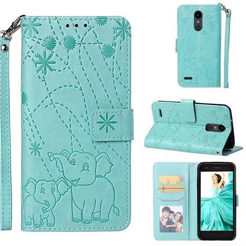 Embossing Fireworks Elephant Leather Wallet Case for LG Aristo 2 - Green