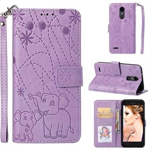 Embossing Fireworks Elephant Leather Wallet Case for LG Aristo 2 - Purple