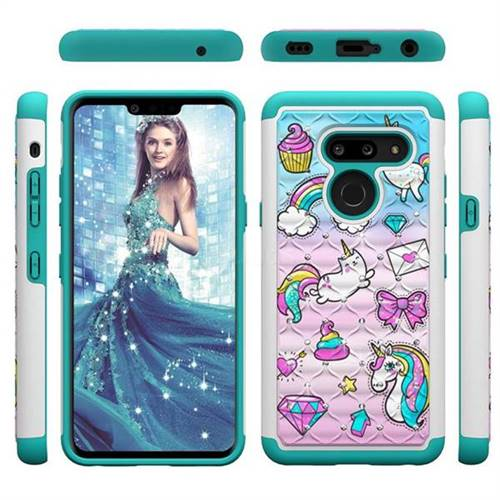 Fashion Unicorn Studded Rhinestone Bling Diamond Shock Absorbing Hybrid Defender Rugged Phone Case Cover for LG G8 ThinQ