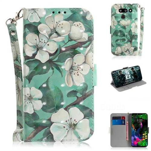 Watercolor Flower 3D Painted Leather Wallet Phone Case for LG G8 ThinQ (LG G8s ThinQ)