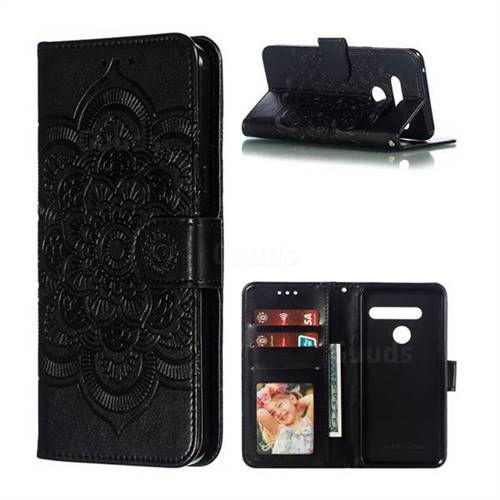 Intricate Embossing Datura Solar Leather Wallet Case for LG G8 ThinQ - Black