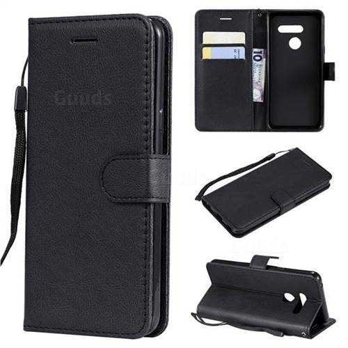 Retro Greek Classic Smooth PU Leather Wallet Phone Case for LG G8 ThinQ - Black