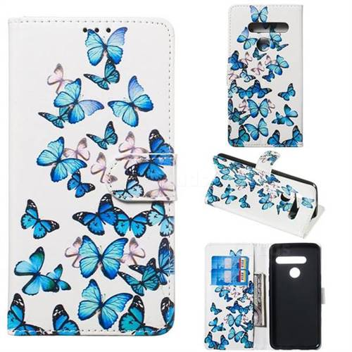 Blue Vivid Butterflies PU Leather Wallet Case for LG G8 ThinQ (G8s ThinQ)
