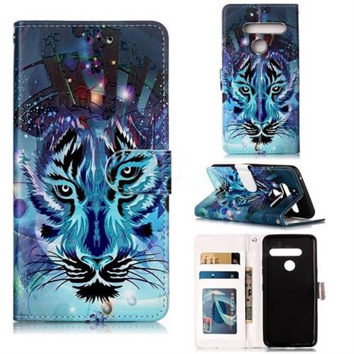 Ice Wolf 3D Relief Oil PU Leather Wallet Case for LG G8 ThinQ (G8s ThinQ)