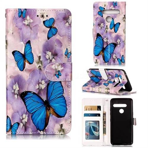 Purple Flowers Butterfly 3D Relief Oil PU Leather Wallet Case for LG G8 ThinQ (G8s ThinQ)