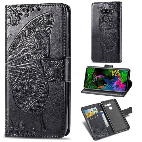 Embossing Mandala Flower Butterfly Leather Wallet Case for LG G8 ThinQ - Black