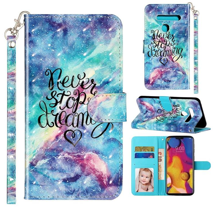 Blue Starry Sky 3D Leather Phone Holster Wallet Case for LG G8 ThinQ (G8s ThinQ)