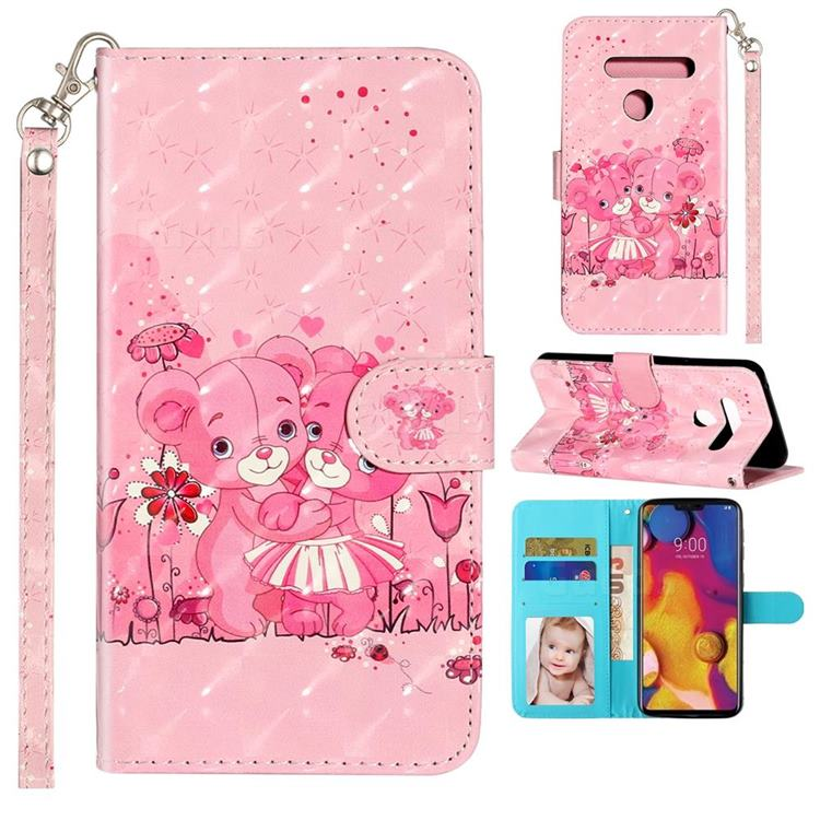 Pink Bear 3D Leather Phone Holster Wallet Case for LG G8 ThinQ (G8s ThinQ)