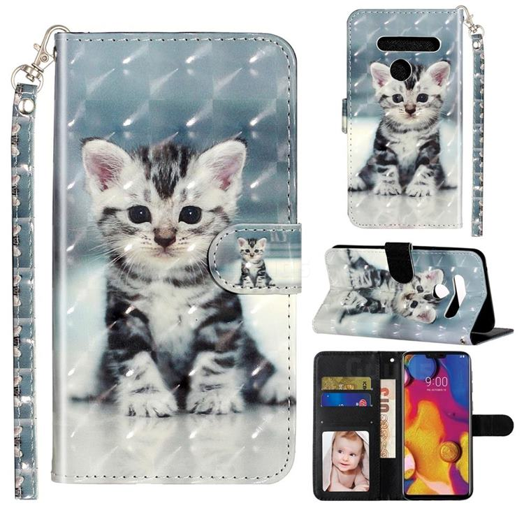 Kitten Cat 3D Leather Phone Holster Wallet Case for LG G8 ThinQ (G8s ThinQ)