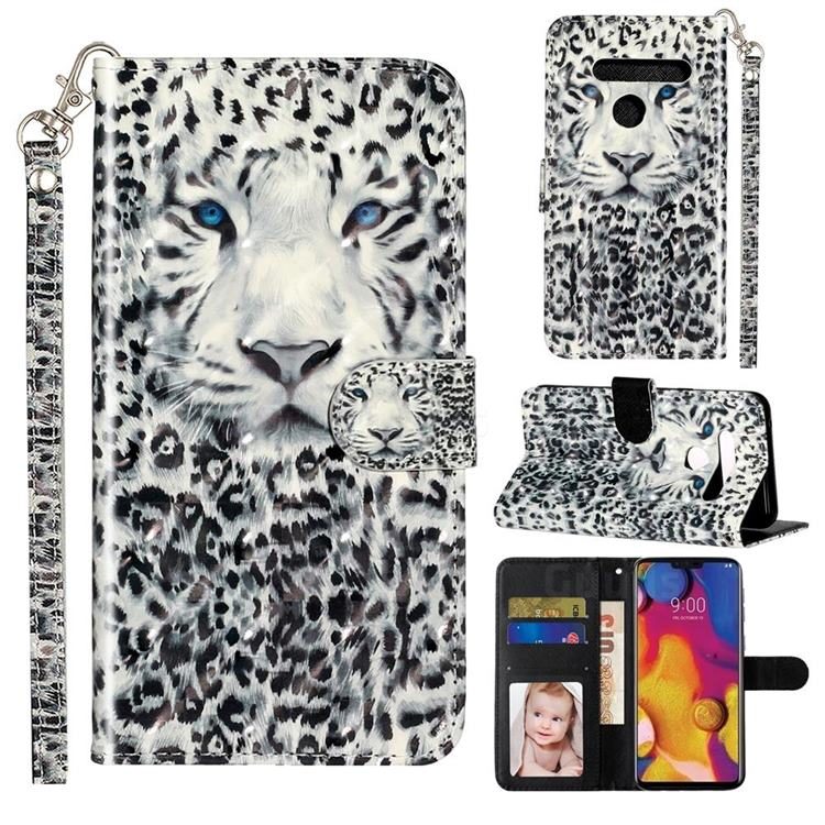 White Leopard 3D Leather Phone Holster Wallet Case for LG G8 ThinQ (G8s ThinQ)