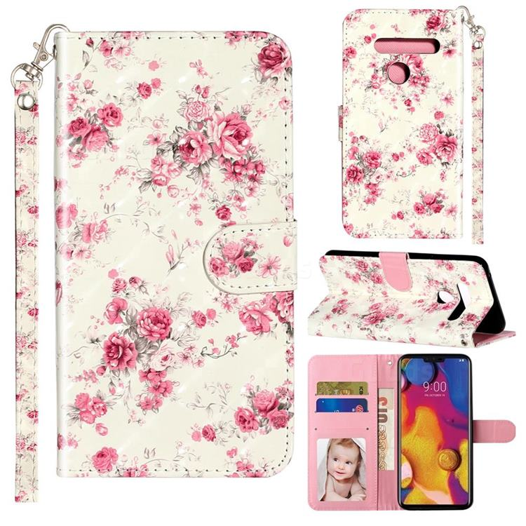 Rambler Rose Flower 3D Leather Phone Holster Wallet Case for LG G8 ThinQ (G8s ThinQ)