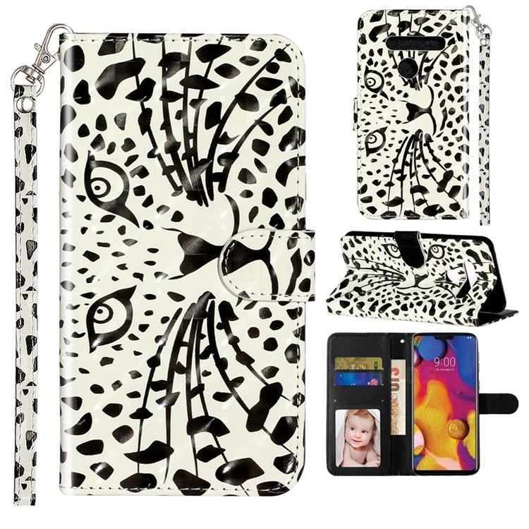 Leopard Panther 3D Leather Phone Holster Wallet Case for LG G8 ThinQ (G8s ThinQ)