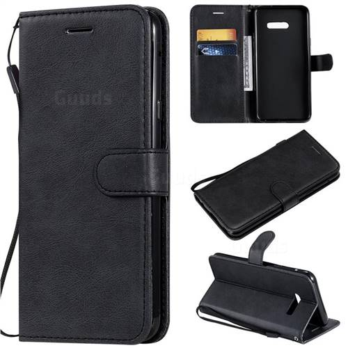 Retro Greek Classic Smooth PU Leather Wallet Phone Case for LG G8X ThinQ - Black