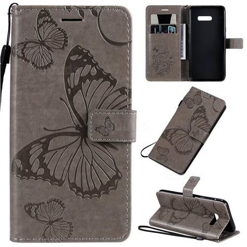 Embossing 3D Butterfly Leather Wallet Case for LG G8X ThinQ - Gray