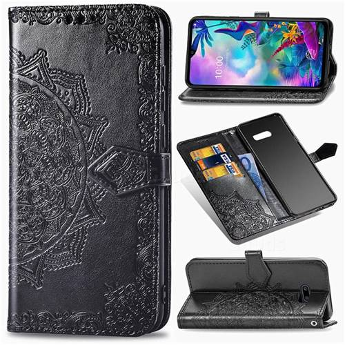 Embossing Imprint Mandala Flower Leather Wallet Case for LG G8X ThinQ - Black