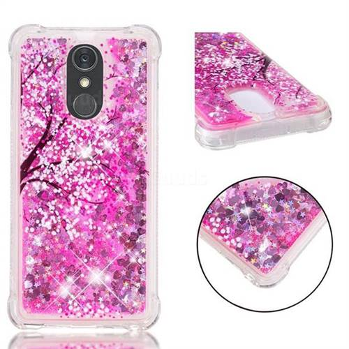 Pink Cherry Blossom Dynamic Liquid Glitter Sand Quicksand Star TPU Case for LG Stylo 4