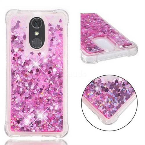 Dynamic Liquid Glitter Sand Quicksand TPU Case for LG Stylo 4 - Pink Love Heart