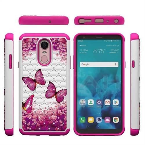 online retailer fe252 b6410 Rose Butterfly Studded Rhinestone Bling Diamond Shock Absorbing Hybrid  Defender Rugged Phone Case Cover for LG Stylo 4