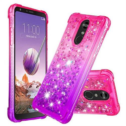 Rainbow Gradient Liquid Glitter Quicksand Sequins Phone Case for LG Stylo 4 - Pink Purple