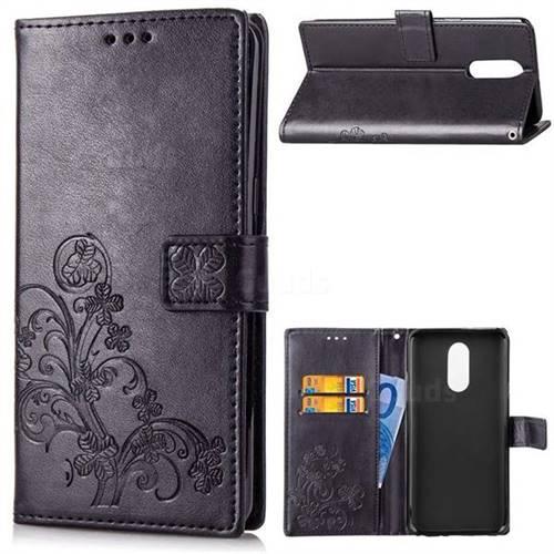 Embossing Imprint Four-Leaf Clover Leather Wallet Case for LG Stylo 4 - Black