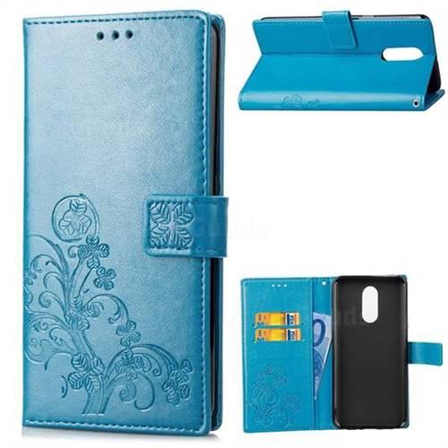 Embossing Imprint Four-Leaf Clover Leather Wallet Case for LG Stylo 4 - Blue