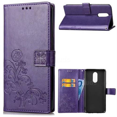 Embossing Imprint Four-Leaf Clover Leather Wallet Case for LG Stylo 4 - Purple