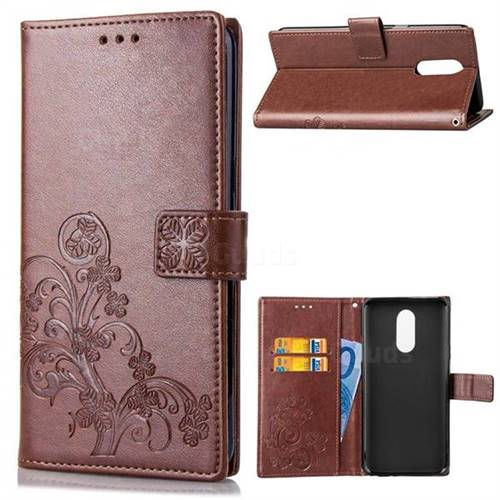Embossing Imprint Four-Leaf Clover Leather Wallet Case for LG Stylo 4 - Brown