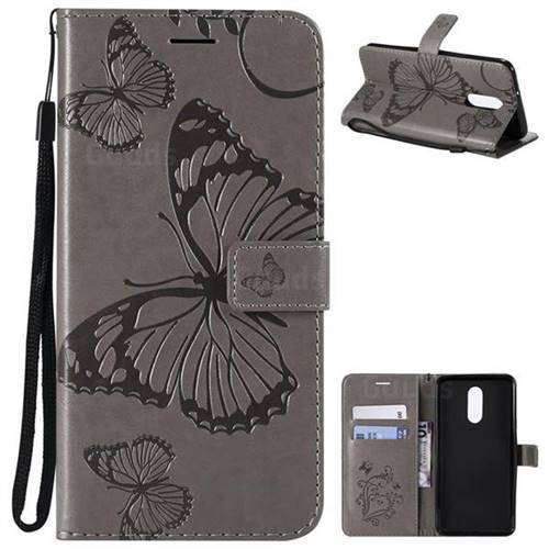 Embossing 3D Butterfly Leather Wallet Case for LG Stylo 4 - Gray