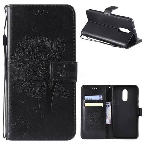Embossing Butterfly Tree Leather Wallet Case for LG Stylo 4 - Black