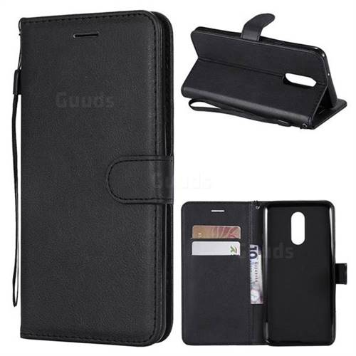 Retro Greek Classic Smooth PU Leather Wallet Phone Case for LG Stylo 4 - Black