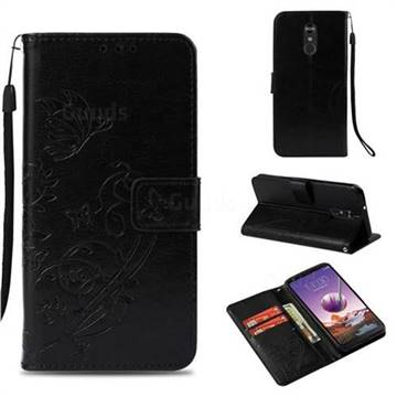 Embossing Butterfly Flower Leather Wallet Case for LG Stylo 4 - Black