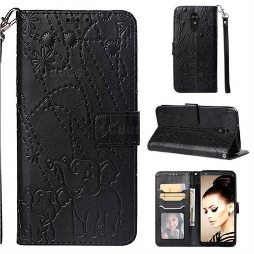 Embossing Fireworks Elephant Leather Wallet Case for LG Stylo 4 - Black