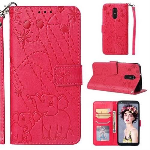 Embossing Fireworks Elephant Leather Wallet Case for LG Stylo 4 - Red