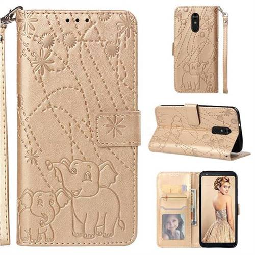 Embossing Fireworks Elephant Leather Wallet Case for LG Stylo 4 - Golden