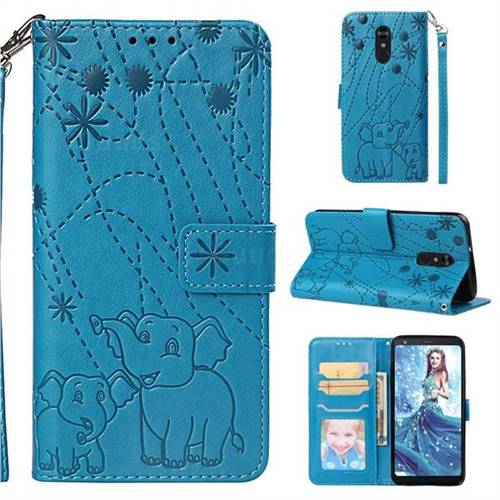 Embossing Fireworks Elephant Leather Wallet Case for LG Stylo 4 - Blue