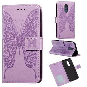 Intricate Embossing Vivid Butterfly Leather Wallet Case for LG Stylo 4 - Purple