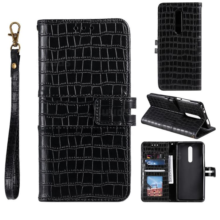 Luxury Crocodile Magnetic Leather Wallet Phone Case for LG Stylo 4 - Black