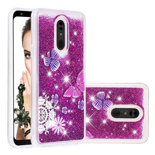 Purple Flower Butterfly Dynamic Liquid Glitter Quicksand Soft TPU Case for LG Stylo 5