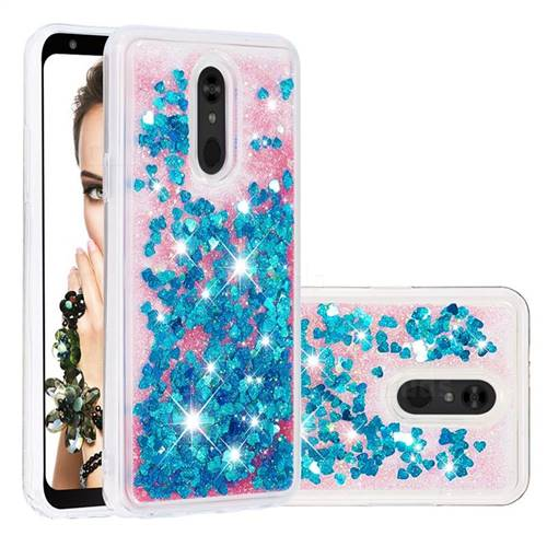 Dynamic Liquid Glitter Quicksand Sequins TPU Phone Case for LG Stylo 5 - Blue