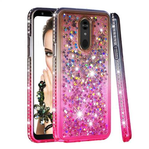 Diamond Frame Liquid Glitter Quicksand Sequins Phone Case for LG Stylo 5 - Gray Pink
