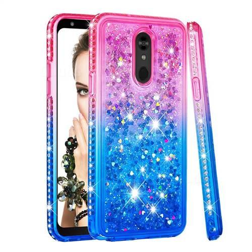 Diamond Frame Liquid Glitter Quicksand Sequins Phone Case for LG Stylo 5 - Pink Blue