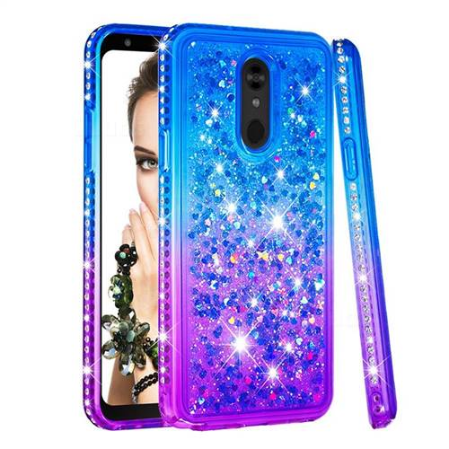 Diamond Frame Liquid Glitter Quicksand Sequins Phone Case for LG Stylo 5 - Blue Purple
