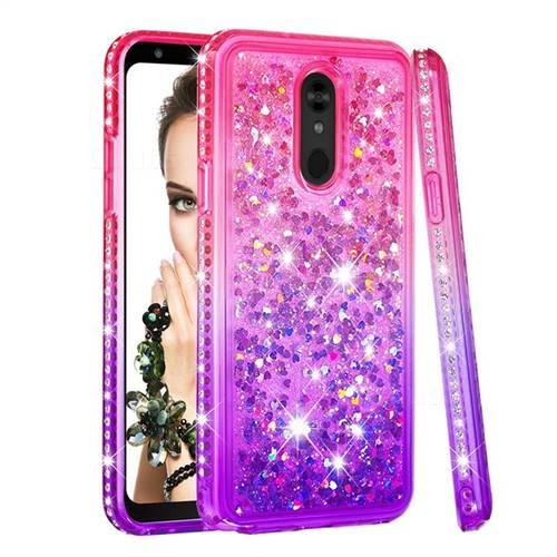 Diamond Frame Liquid Glitter Quicksand Sequins Phone Case for LG Stylo 5 - Pink Purple