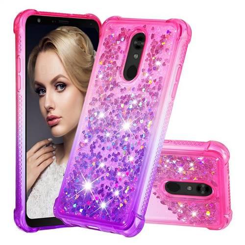 Rainbow Gradient Liquid Glitter Quicksand Sequins Phone Case for LG Stylo 5 - Pink Purple