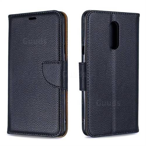 Classic Luxury Litchi Leather Phone Wallet Case for LG Stylo 5 - Black